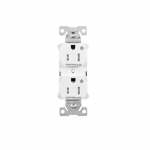 15 Amp Dual Controlled Duplex Receptacle, Tamper Resistant, White