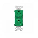 15 Amp Half Controlled Duplex Receptacle, Tamper Resistant, Green