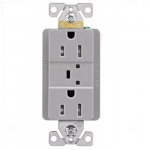 15 Amp Duplex Receptacle w/ Surge Protection Alarm & LED Indicator, 2-Pole, 125V, Gray