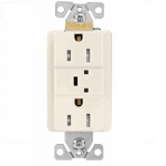 15 Amp Duplex Receptacle w/ Surge Protection Alarm & LED Indicator,2-Pole, 125V,Lt Almond