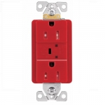 15 Amp Duplex Receptacle w/ Surge Protection Alarm & LED Indicator, 2-Pole, 125V, Red