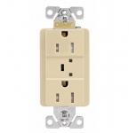 15A Duplex Receptacle w/ Surge Protection & Alarm, 125V, Ivory