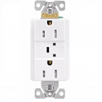 15 Amp Duplex Receptacle w/ Surge Protection Alarm & LED Indicator, 2-Pole, 125V, White