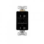 20 Amp Duplex Receptacle w/LED Indicators, Commercial Grade, Black