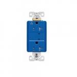 20 Amp Duplex Receptacle w/LED Indicators, Commercial Grade, Blue