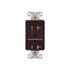 20 Amp Duplex Receptacle w/LED Indicators, Commercial Grade, Brown