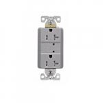 20 Amp Duplex Receptacle w/LED Indicators, Commercial Grade, Gray