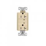 20 Amp Duplex Receptacle w/LED Indicators, Commercial Grade, Ivory
