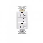 20 Amp Duplex Receptacle w/LED Indicators, Commercial Grade, White