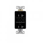 20 Amp Duplex Receptacles w/Audible Alarm & LED Indicators, Commercial Grade, Black
