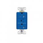 20 Amp Duplex Receptacles w/Audible Alarm & LED Indicators, Commercial Grade, Blue