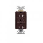 20 Amp Duplex Receptacles w/Audible Alarm & LED Indicators, Commercial Grade, Brown