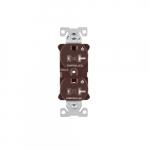 20 Amp Dual Controlled Duplex Receptacle, Tamper Resistant, Brown