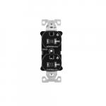 20 Amp Dual Controlled Duplex Receptacle, Tamper Resistant, Black