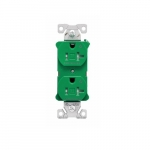 20 Amp Dual Controlled Duplex Receptacle, Tamper Resistant, Green