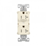 20 Amp Dual Controlled Duplex Receptacle, Tamper Resistant, Light Almond