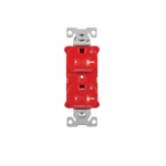 20 Amp Dual Controlled Duplex Receptacle, Tamper Resistant, Red