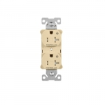 20 Amp Dual Controlled Duplex Receptacle, Tamper Resistant, Ivory