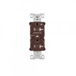 20 Amp Half Controlled Duplex Receptacle, Tamper Resistant, Brown