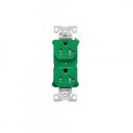 20 Amp Half Controlled Duplex Receptacle, Tamper Resistant, Green
