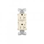 20 Amp Half Controlled Duplex Receptacle, Tamper Resistant, Light Almond