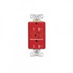 Arrow Hart 20 Amp Duplex Receptacle, Tamper Resistant, Construction Grade, Red