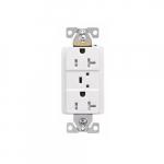 Arrow Hart 20 Amp Duplex Receptacle, Tamper Resistant, Construction Grade, White
