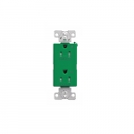 Arrow Hart 15 Amp Dual Controlled Decorator Receptacle, Tamper Resistant, Green