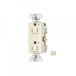 Arrow Hart 15 Amp Dual Controlled Decorator Receptacle, Tamper Resistant, Ivory