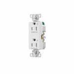 Arrow Hart 15 Amp Dual Controlled Decorator Receptacle, Tamper Resistant, White