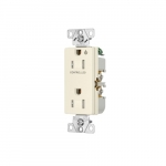 Arrow Hart 15 Amp Half Controlled Decorator Receptacle, Tamper Resistant, Light Almond