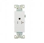 20 Amp Single Receptacle, Tamper Resistant, Decora, White