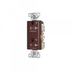 20 Amp Dual Controlled Decorator Receptacle, Tamper Resistant, Construction Grade, Brown