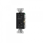 20 Amp Dual Controlled Decorator Receptacle, Tamper Resistant, Construction Grade, Black