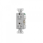 20 Amp Dual Controlled Decorator Receptacle, Tamper Resistant, Construction Grade, Gray