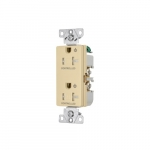20 Amp Dual Controlled Decorator Receptacle, Tamper Resistant, Construction Grade, Ivory