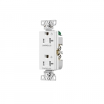 20 Amp Dual Controlled Decorator Receptacle, Tamper Resistant, Construction Grade, White