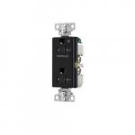 20 Amp Half Controlled Decorator Receptacle, Tamper Resistant, Construction Grade, Black