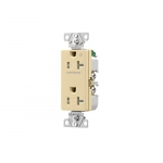 20 Amp Half Controlled Decorator Receptacle, Tamper Resistant, Construction Grade, Ivory