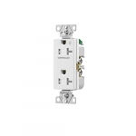 20 Amp Half Controlled Decorator Receptacle, Tamper Resistant, Construction Grade, White