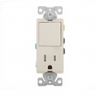 15 Amp Decora Switch w/ Receptacle, Tamper Resistant, Light Almond