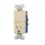 15 Amp Decora Switch w/ Receptacle, Tamper Resistant, Ivory