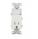 15 Amp Nightlight w/ Receptacle, Tamper Resistant, White