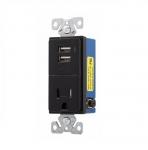 15 Amp USB Charger w/ Receptacle, Tamper Resistant, Black