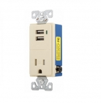 15 Amp USB Charger w/ Receptacle, Tamper Resistant, Ivory