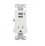15 Amp USB Charger w/ Receptacle, Tamper Resistant, White