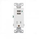 15 Amp Dual USB Charger w/ Receptacle, Tamper Resistant, White