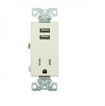 2.4 Amp USB Charger w/ Receptacle, Combo,Tamper Resistant, Light Almond