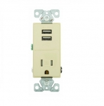 2.4 Amp USB Charger w/ Receptacle, Combo,Tamper Resistant, Ivory