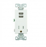 2.4 Amp USB Charger w/ Receptacle, Combo,Tamper Resistant, White